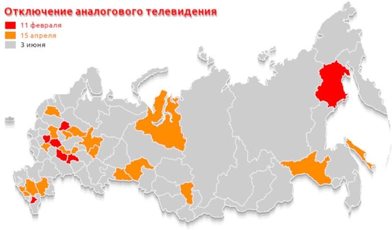 График отключения аналогового телевидения по всем регионам России