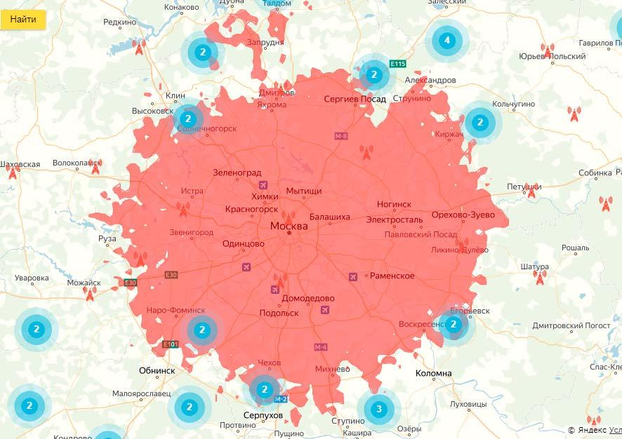 Зона покрытия 3 мультиплекса в московском регионе