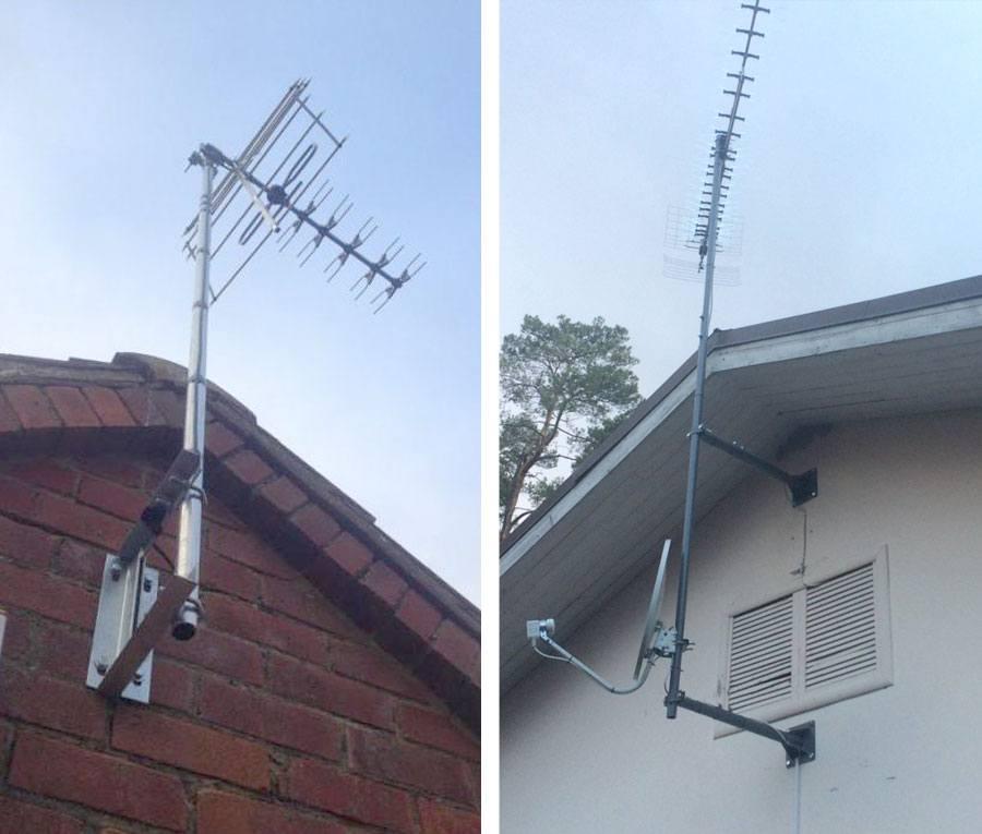Установка антенны под крышей на мачте