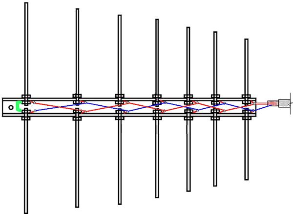 Соединение вибраторов логопериодической антенны